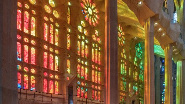 Sagrada Familia interior sunset
